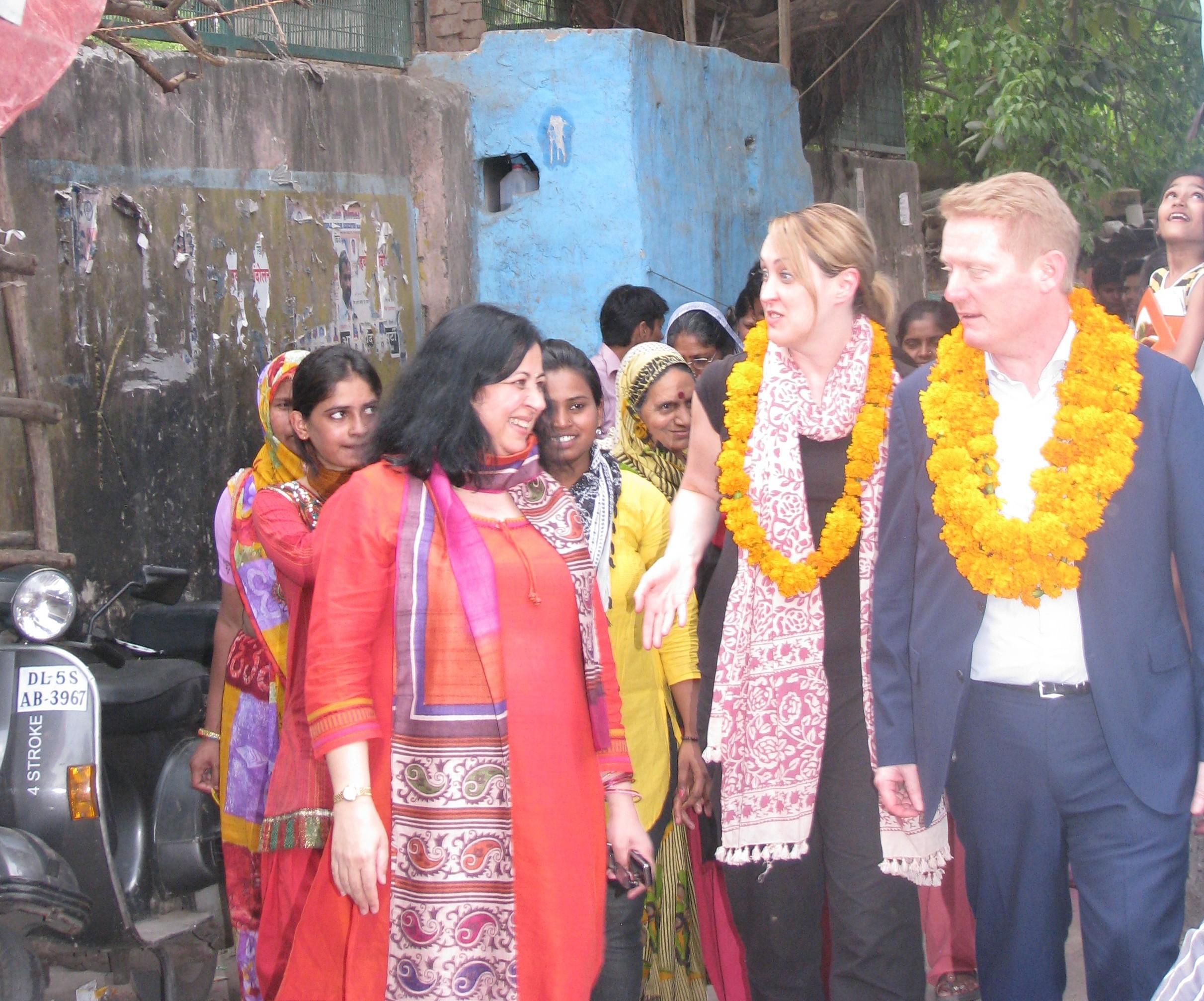 Dr. Kiran Martin welcomes Mr. Philip to Dr. Ambedkar slum
