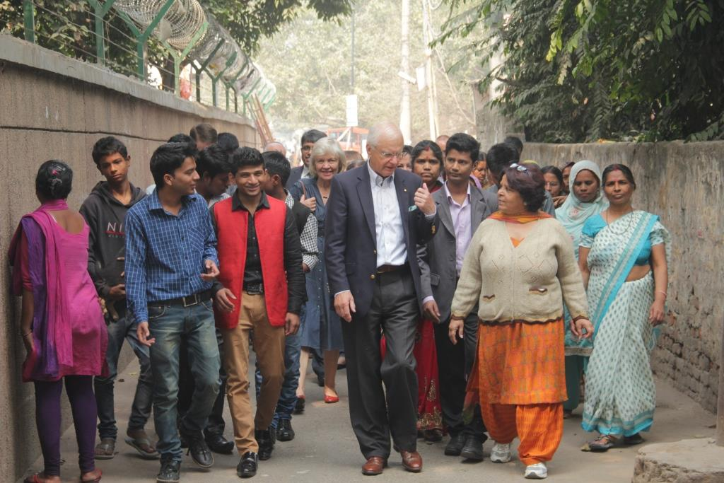 Hon Alex Chernov AC QC, Governor of Victoria, Australia walks through the lanes of Kanak Durga Slum Colony