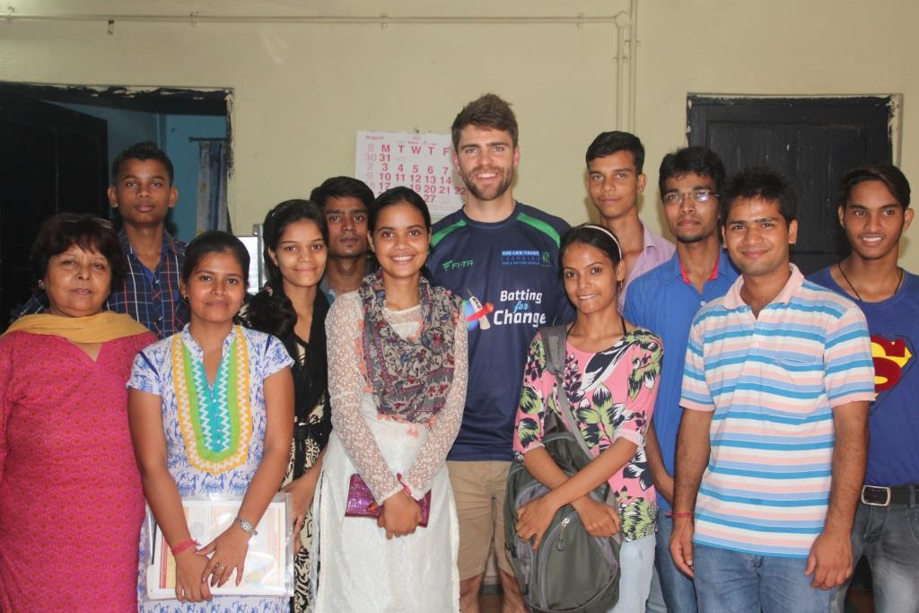 Ryan with Asha students at Mayapuri slum colony