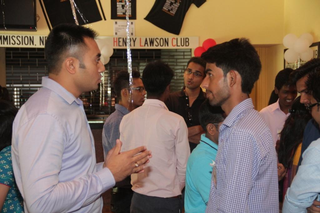 Students talking to company representatives