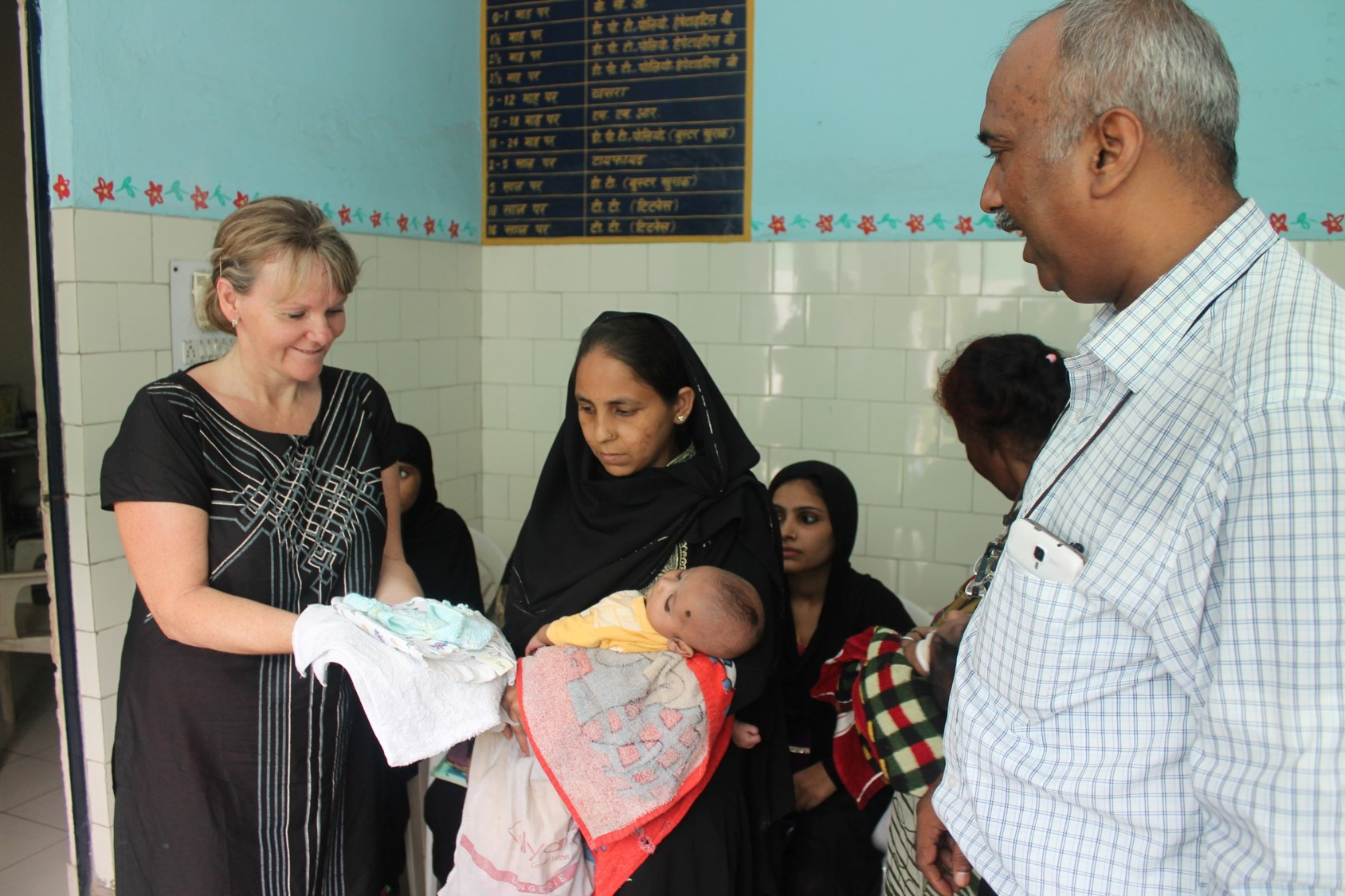 Paula seeing patients at the Seelampur slum colony