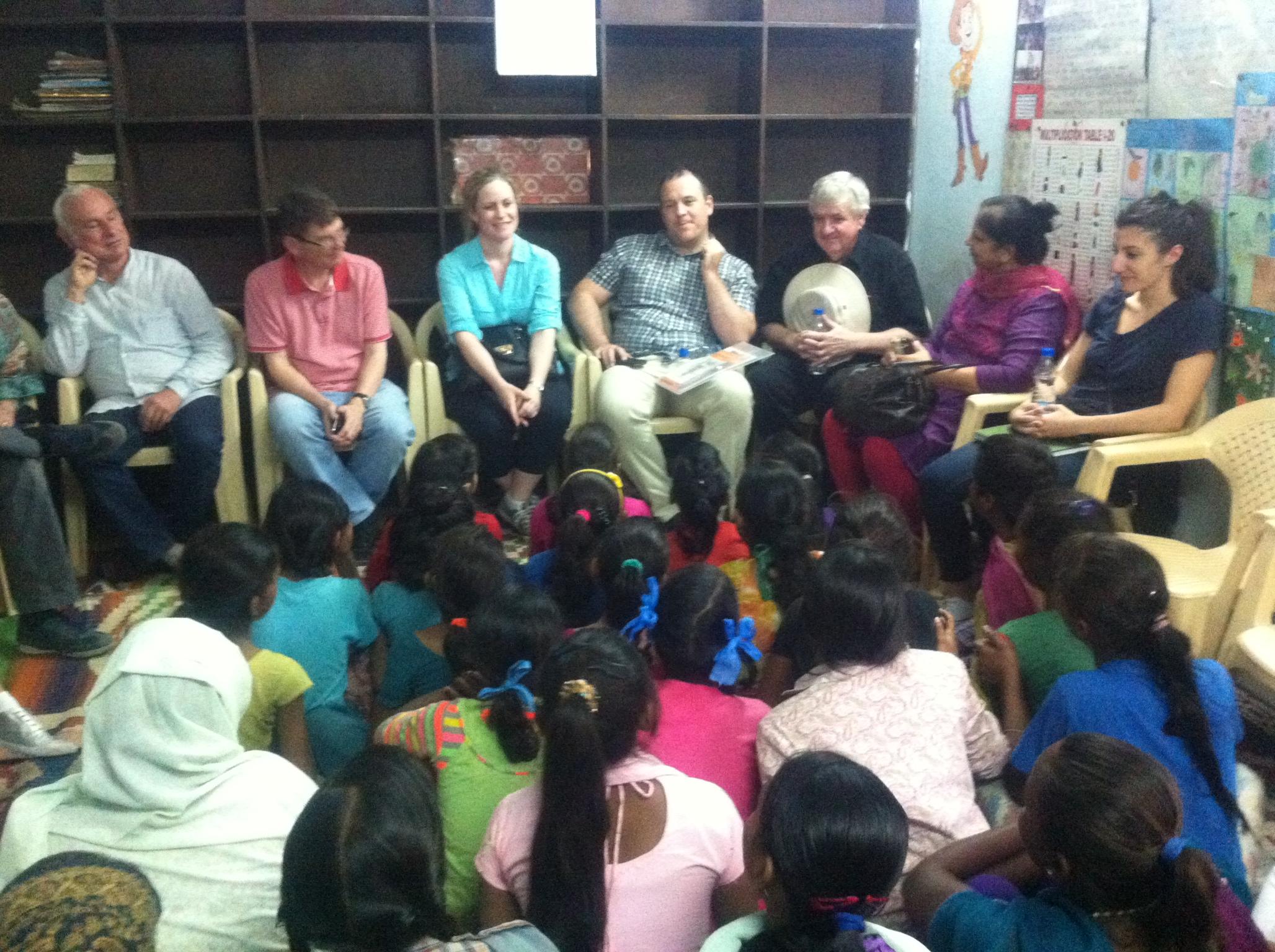 The AWO team talking to children at Mayapuri slum colony