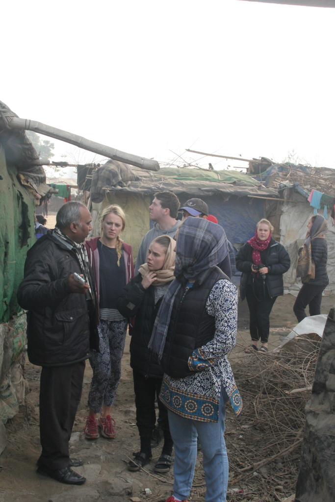 During a visit to the slum community based on the banks of river Yamuna