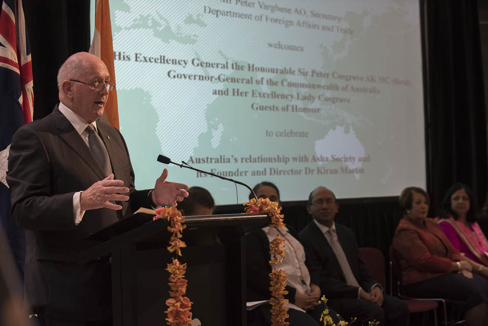 HE General The Hon Sir Peter Cosgrove, Governor General of Australia AK MC addressing the gathering