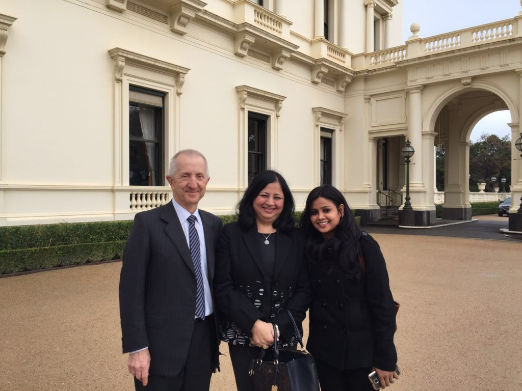 AFOA Chair, Robert Johanson with Dr Kiran and Usha, outside the Government House in Melbourne