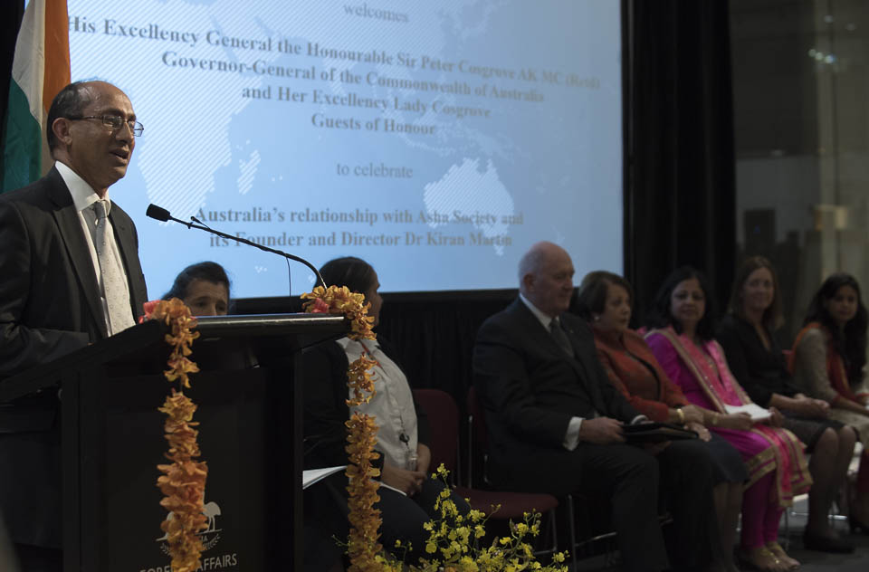 Mr Peter Varghese AO, Secretary of the Australian Department of Foreign Affairs and Trade, and former Australian High Commissioner to India addressing the gathering