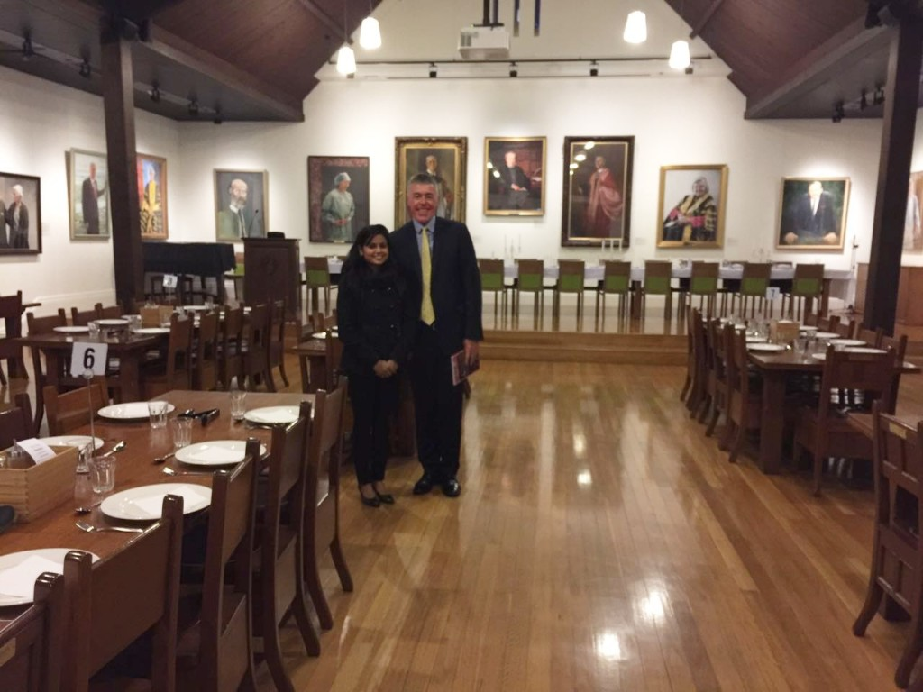 Usha with Campbell Bairstow at Trinity College