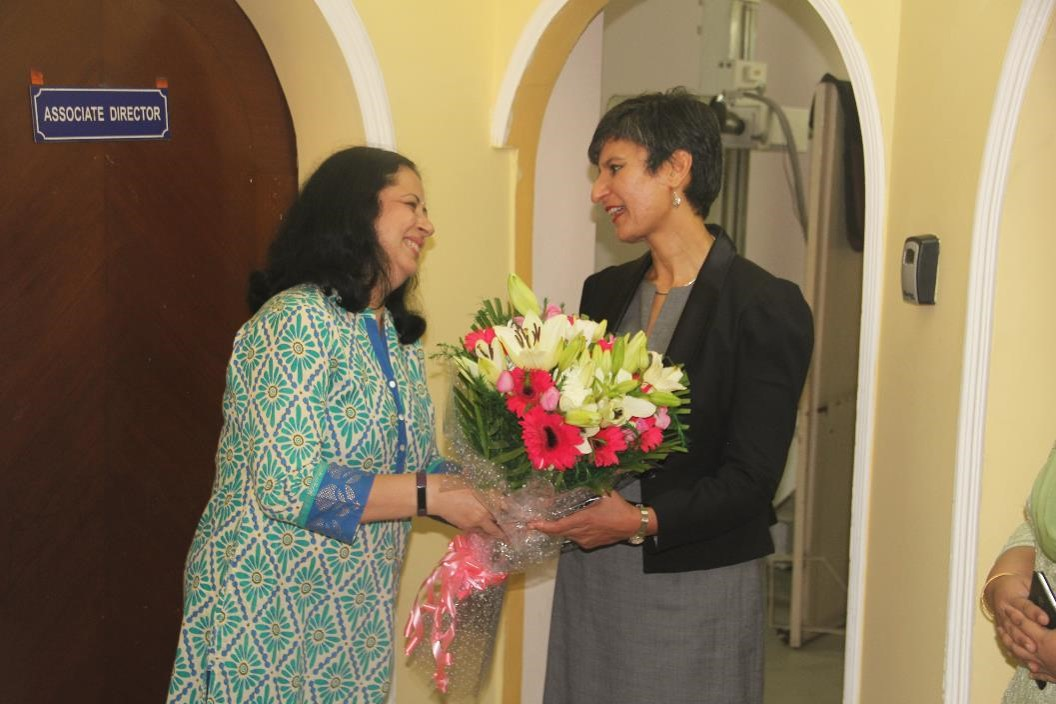 Dr Kiran warmly welcomes HE Ms Harinder Sidhu.