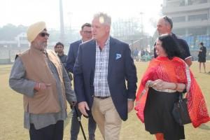 Former Cricket stars Bishen Singh Bedi, Dean Jones and Dr Kiran Martin exchange a smile.