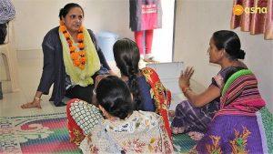 Dr Monica Pahuja with the Mahila Mandal (Women's Association) members