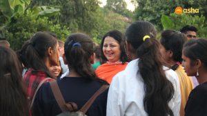 Dr Kiran Martin sharing laughter with the Asha students