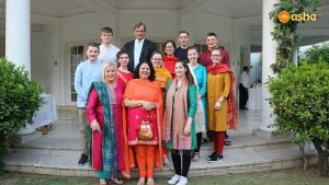 Sir Dominic Asquith KCMG and Dr Kiran with the Dunclug School