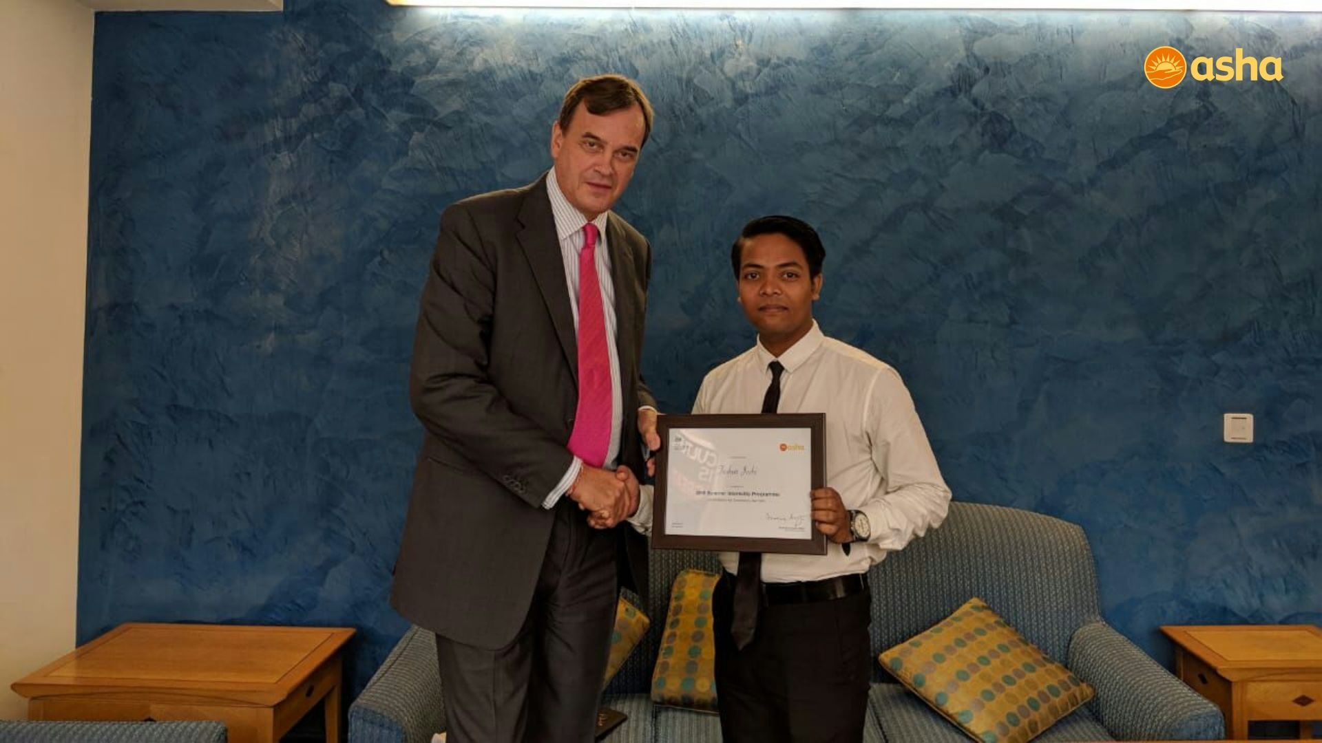 Tushar with Sir Dominic Asquith KCMG, who is the British High Commissioner to India