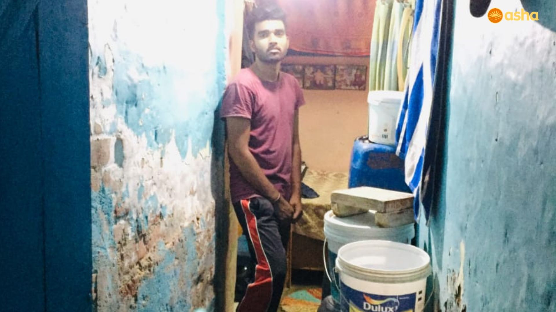 Amritesh in his shanty at Asha's Kusumpur slum community